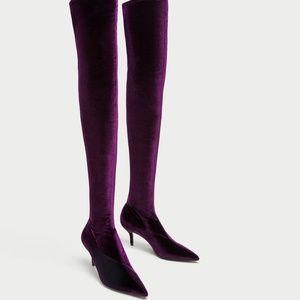 NWT Zara Size 6 Over Knee Velvet Sock Style Boots